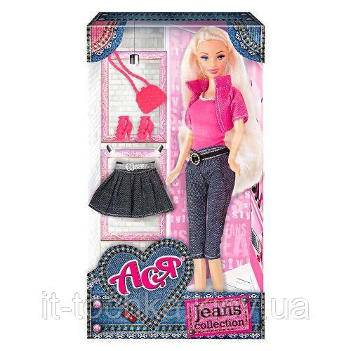 Кукла Ася 'Джинсовая коллекция' 28 см блондинка вариант 1