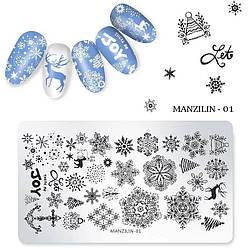 Новорічні пластини для стемпинга Сніжинки - Металева пластина для стемпинга - Стемпинг для нігтів