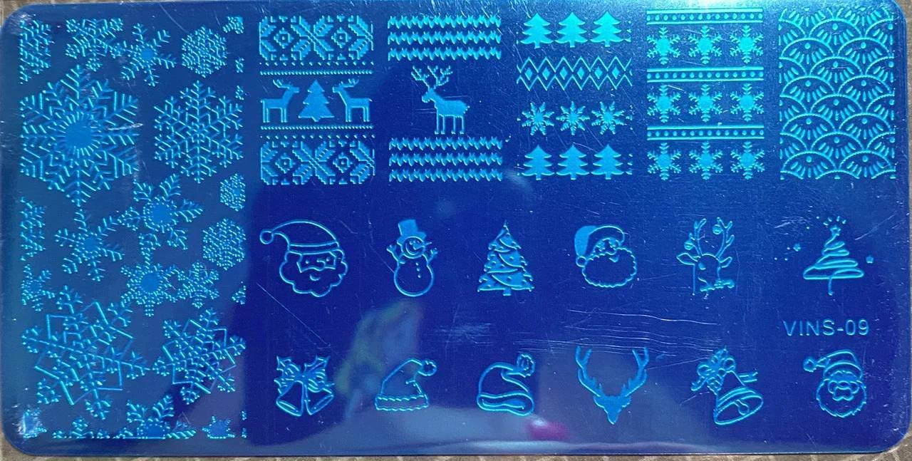 Новорічні пластини для стемпинга Сніжинки Зима - Металева пластина для стемпинга Зимовий стемпинг дизайн