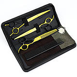 """7"""" дюймов комплект 3 шт. профессиональных ножниц  для стрижки домашних животных для груминга Univinlions, фото 6"""