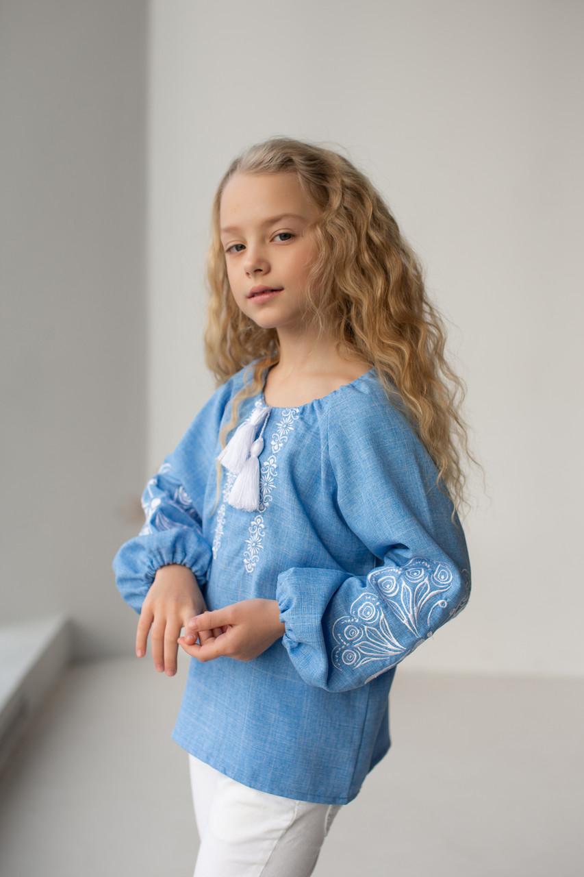 """Блуза с элементами вышивки  """"Матылек""""  140 - 170 по росту"""