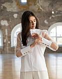 Стильная женская комбинированная блузка 23-2, фото 2