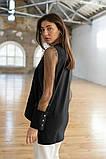 Стильная женская комбинированная блузка 23-2, фото 3