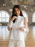 Стильная женская комбинированная блузка 23-2, фото 6