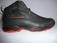 Зимние ботинки Jordan  на меху черные с красным, фото 1