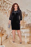 Красивое вечернее велюровое приталенное платье с декоративными камнями р: 50-52, 54-56, 58-60, 62-64 арт. 215