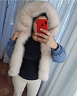 Куртка короткая (бомбер) с натуральным мехом песца цвет голубой