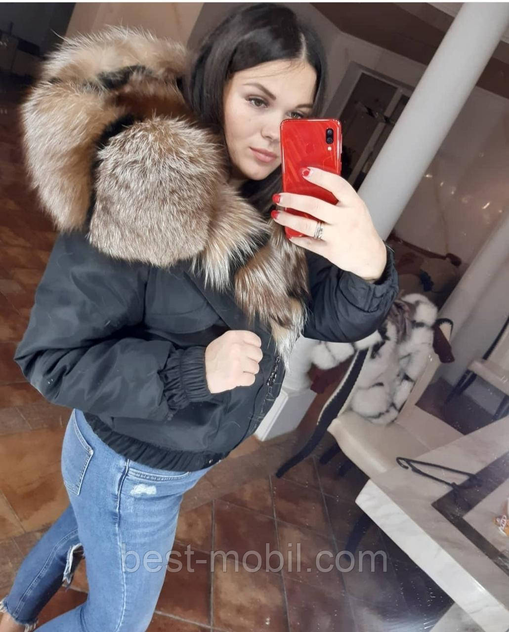 Куртка короткая (бомбер) с натуральным мехом рыжей чернобурки цвет черный