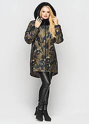 Женская зимняя удлиненная куртка Мариза хаки принт