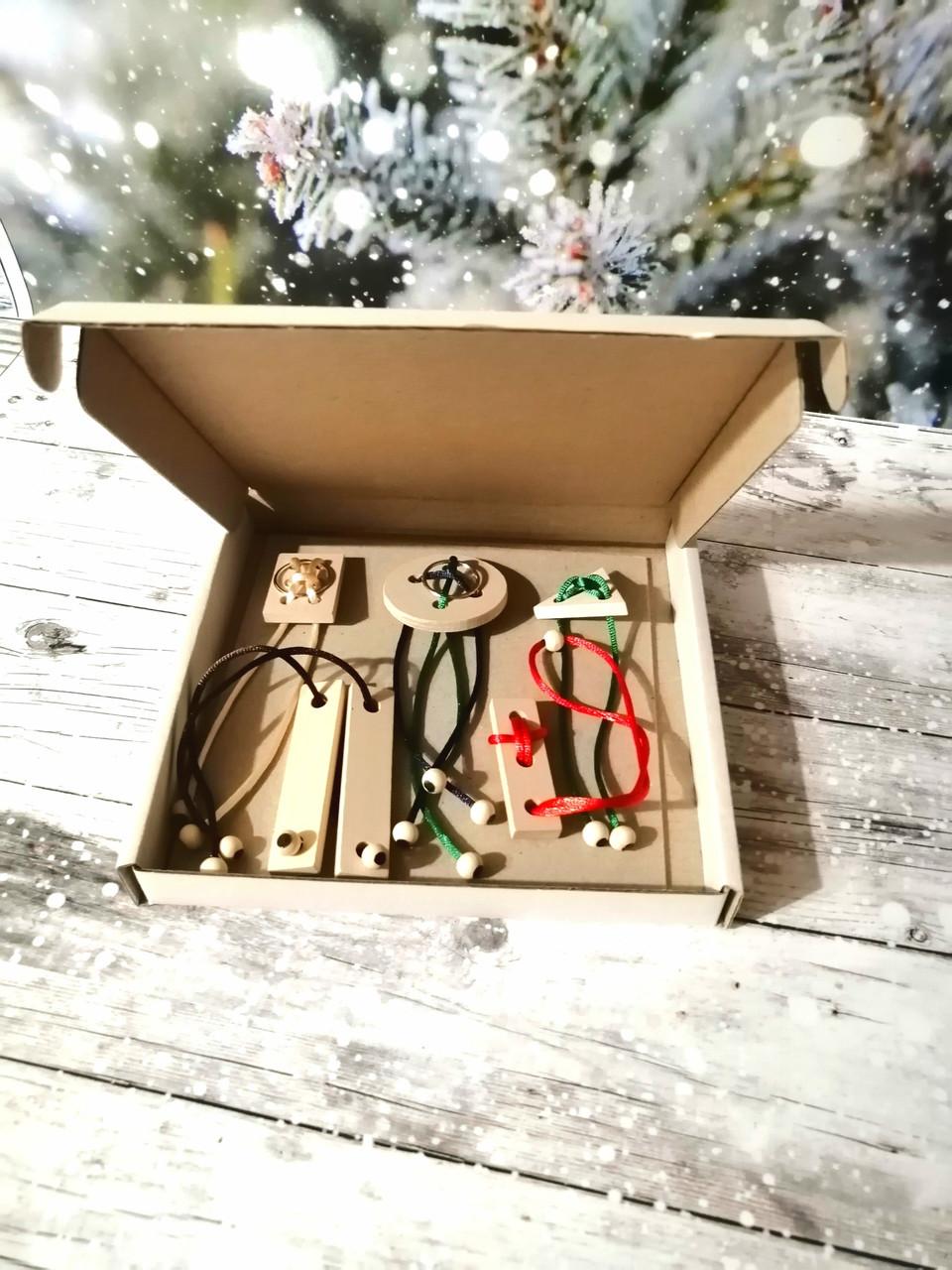 Подарочный набор  головоломок из дерева. Логическая игра