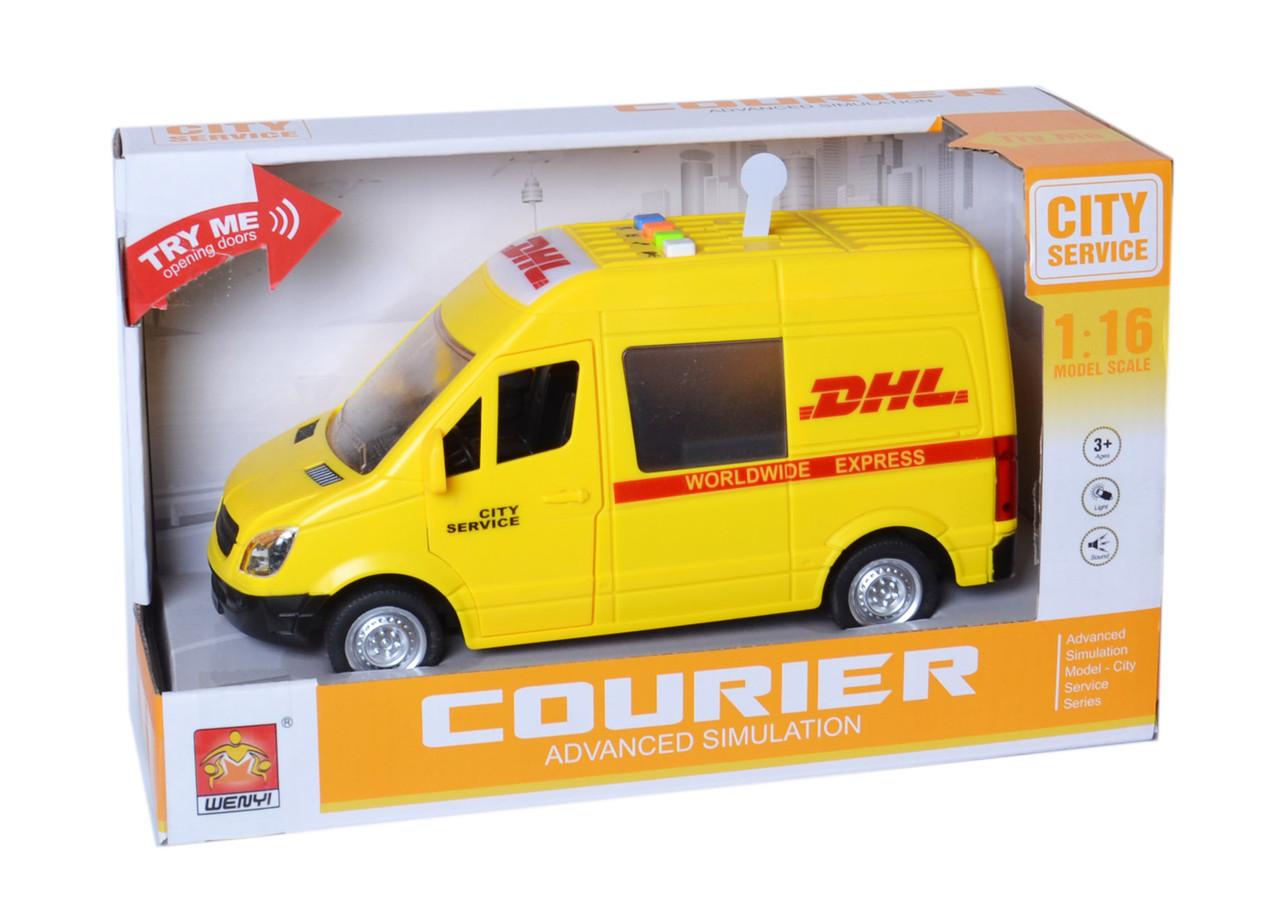 Автомобиль фрикционный служба доставки, свет, звук 1:16 WY591C