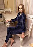 Женская пижама из велюра четверка, фото 2