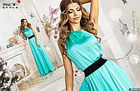 Длинное платье однотонное с велюровым поясом