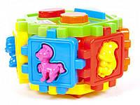 Универсальный логический куб-сортер (20 деталей), развивающий сортер с фигурками животных и формы