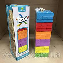 Настольная игра Vega головоломка падающая Башня Дженга 51 цветной блок с кубиком.