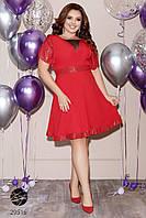 Платье с отделкой пайетками 48-50/красный