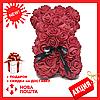 Красивый мишка из латексных 3D роз 40 см с лентой в подарочной коробке | Коралловый, фото 5