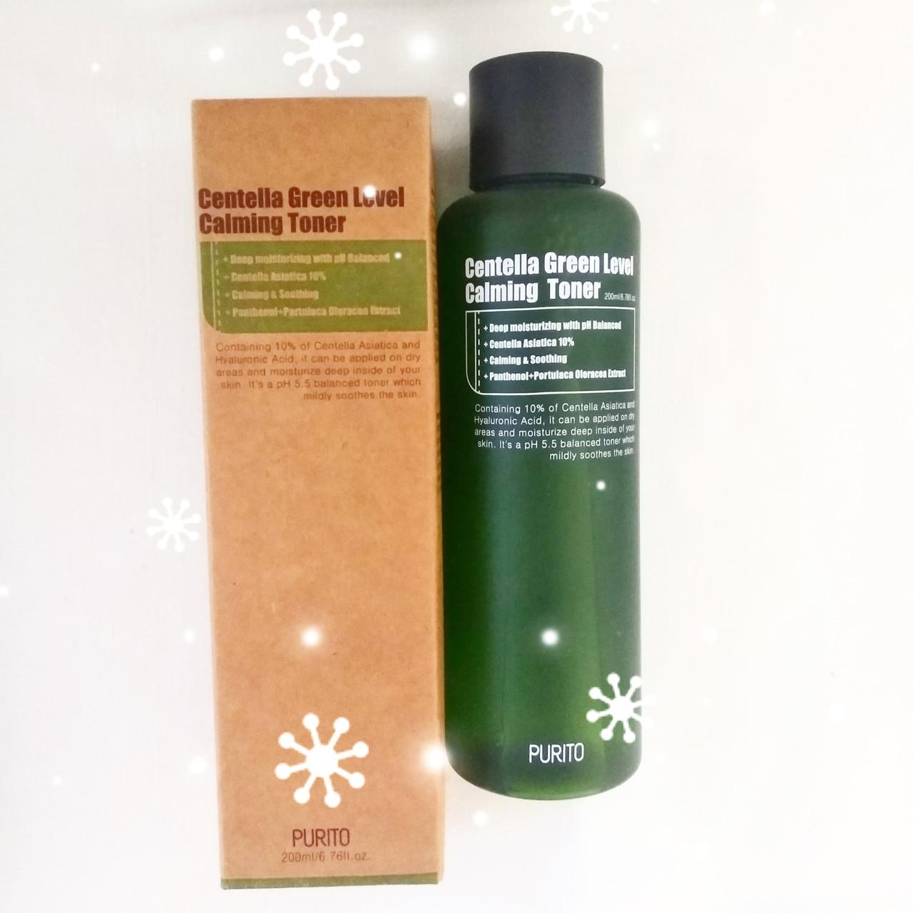 PURITO Centella Green Level Calming Toner Успокаивающий тонер с экстрактом центеллы  200 мл.
