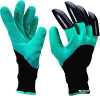 Перчатки садовые для огорода Genie Gloves с пластиковыми наконечниками-когтями, фото 1