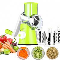 Овощерезка мультислайсер Tabletop Drum Grather терка для овощей и фруктов 3 насадки Зеленая/Белая, фото 1