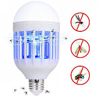 Антимоскитная светодиодная лампочка приманка для комаров и насекомых 2 в 1 Mosquito killer lamp Е27,  15Вт