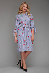 Платье рубашечного типа Эвита с вышивкой голубая полоска