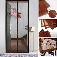 Антимоскітна сітка на магнітах дверна Magic Mesh 100см. х 210 см (коричнева), фото 1