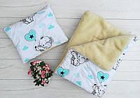 Детское одеяло+подушка «Слоненок», на овчина