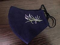 Многоразовая маска тканевая с вышивкой логотипа или имени