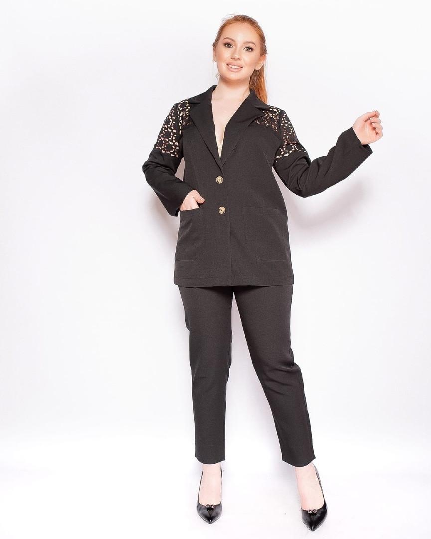 Женский брючный костюм двойка большого размера. Размеры:50,52,54,56+Цвета