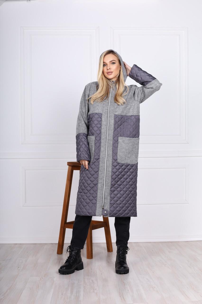 Длиная стеганая куртка-пальто с капюшоном (42-48)