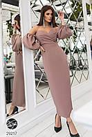 Женское нарядное платье-бандо с объёмными рукавами в разных цветах