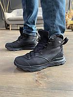 Зимние мужские ботинки из натуральной кожи, молодежные, модные на шнуровке, черные