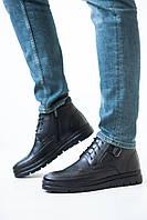 Зимние высокие мужские ботинки из натуральной кожи, молодежные, модные на шнуровке, черные