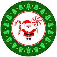 Тарелки в стиле Новый год (Дед Мороз) Зеленый поштучно бумажные одноразовые 23 см.