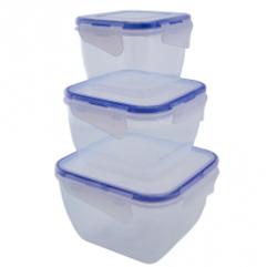 Набор контейнеров квадратных с зажимами, 3шт,  для пищевых продуктов