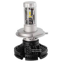 X3 Лампа светодиодная цоколь H4 (к-кт 2 шт) 12/24V, 50W, 4000Lm + вентилятор (авиац. алюмин.)