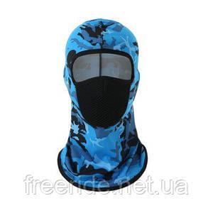 Тонкая дышащая эластичная балаклава / подшлемник из лайкры синий камуфляж