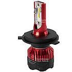 К5 Лампа светодиодная цоколь H3 red (к-кт 2 шт) 12/24V, 60W, 4500Lm + вентилятор (авиац. алюмин.), фото 3