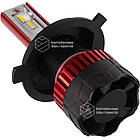 К5 Лампа светодиодная цоколь H3 red (к-кт 2 шт) 12/24V, 60W, 4500Lm + вентилятор (авиац. алюмин.), фото 4