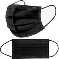 Маска медицинская черная для лица 10 шт одноразовая трехслойная защитная штампованная с зажимом для носа