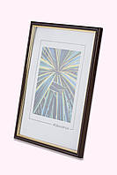 Рамка а4 из пластика - Коричневый тёмный с золотом - со стеклом