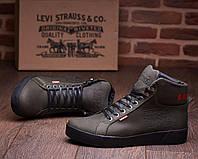Кожаные зимние ботинки кроссовки на меху Levis Oregon Olive, фото 1