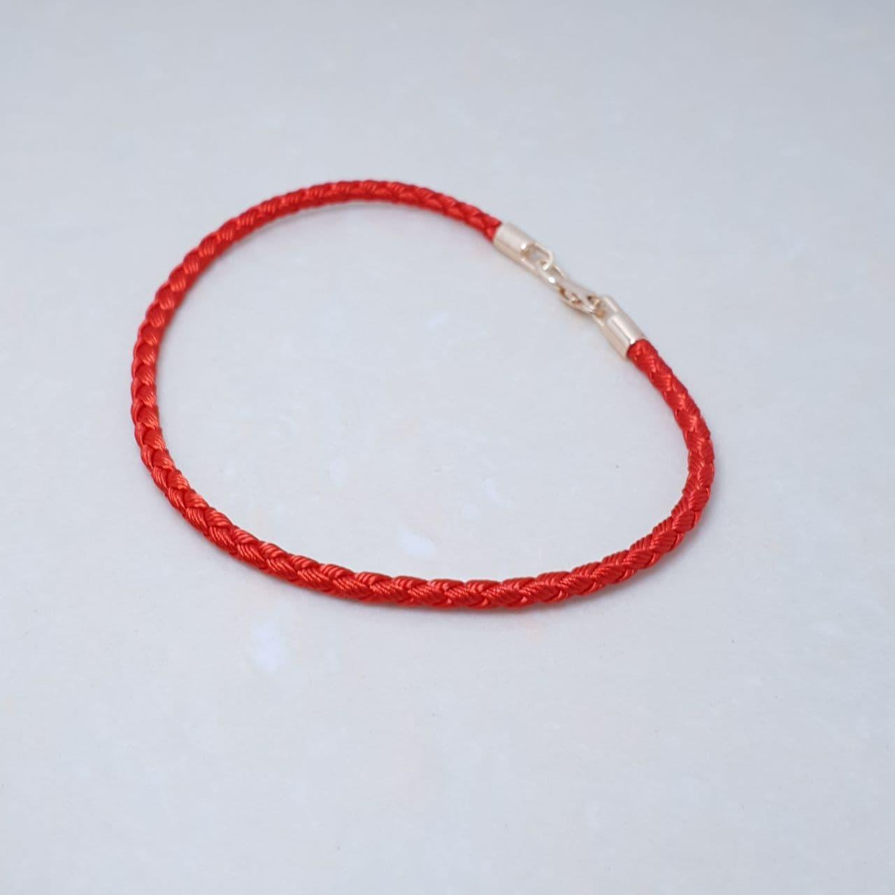 """Браслет-оберег """"Красная нить"""",серебро 925, красное золото, натуральный шелковый плетеный шнур - качество ТОП!"""