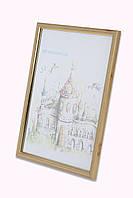 Рамка а4 из пластика - Коричневый светлый с золотом - со стеклом