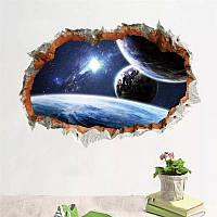 """Наклейка на стену, виниловые наклейки в детский сад """"дыра в космос - планеты"""" (лист 50см*70см)"""