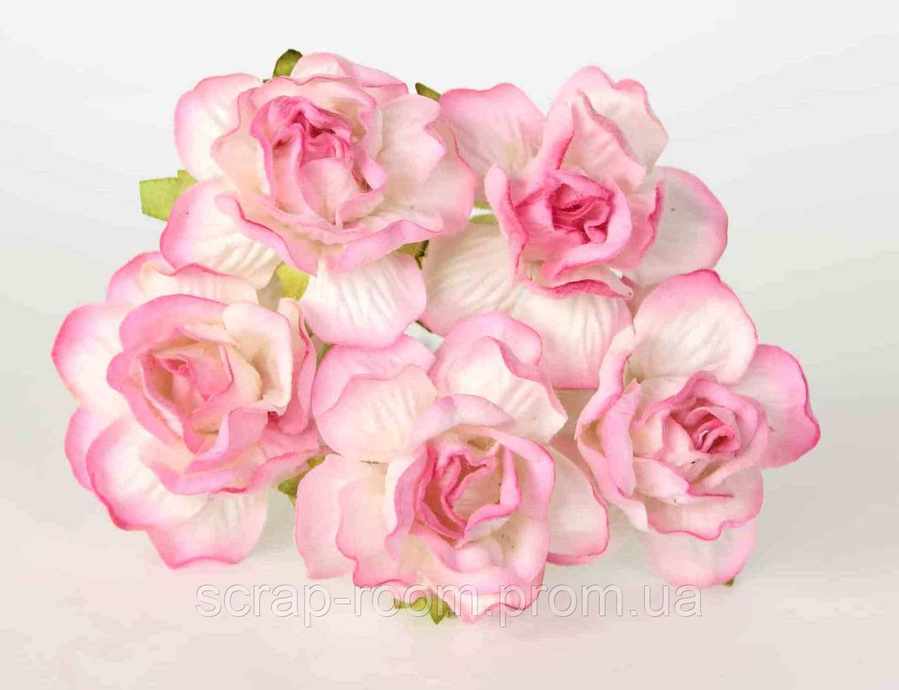 Роза бумажная бело-розовая диаметр 4,5 см, роза розово-белая, роза розовая Таиланд 2,5 см, цена за 1 шт