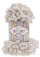 Пряжа Alize Puffy №599 (Ализе Пуффи) Для ручного вязания Молочный
