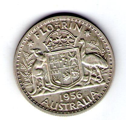 Австралия 1 флорин 1956 серебро №153