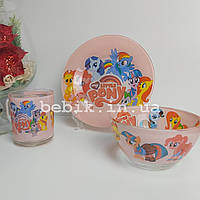 Подарунковий набір дитячого посуду зі скла My Little Pony для дівчаток